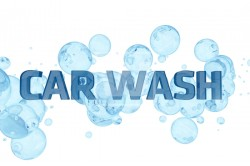 Car Wash Design. Blue Bubbles and Glassy Car Wash Letters. White Solid Background. Cool Car Wash Theme. 3D Render illustration.