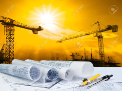 23858634-architect-plan-on-working-table-with-crane-and-building-construction-Stock-Photo