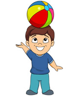 child balancing ball on head clipart